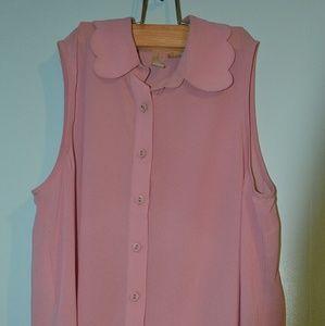 Blush scallop-collared blouse